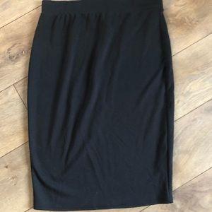 Black stretchy cotton pencil skirt